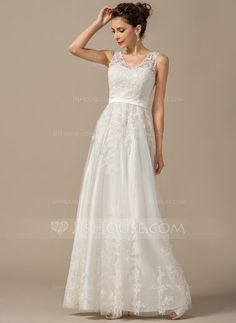 A Line Princess V Neck Floor Length Tulle Wedding Dress With