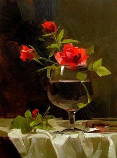 """Roses in Glass"" - Original Fine Art for Sale - © Qiang Huang"
