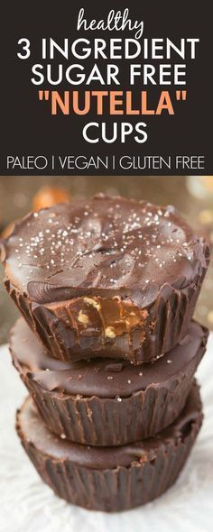 Healthy 3 Ingredient Paleo Nutella Cups which are sugar free and ready in minutes! Paleo, vegan, gluten free and dairy free! Sugar Free Desserts, Sugar Free Recipes, Paleo Dessert, Low Carb Desserts, Healthy Sweets, Gluten Free Desserts, Vegan Recipes, Dessert Recipes, Paleo Vegan