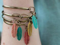 Feather Charm Bangle Bracelet by gleefulpeacock on Etsy, $16.00