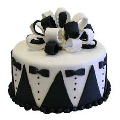 Black and white grooms or bachelor themed cake. Cakes For Men, Just Cakes, Fondant Cakes, Cupcake Cakes, Cupcakes, Bachelor Cake, Tuxedo Cake, New Year's Cake, Wedding Cake Decorations