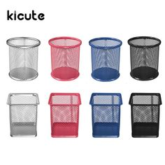 Kicute Unique 4 Color Desktop Organizer Round Metal Pen Holder Cosmetic Pencil Holders Stationery Container Office School Supply