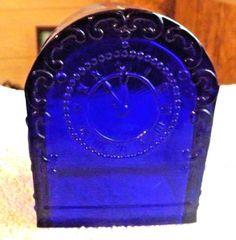 Rare Vintage Cobalt Blue Glass Shelf Clock Candy Container #unbranded #ArtDeco