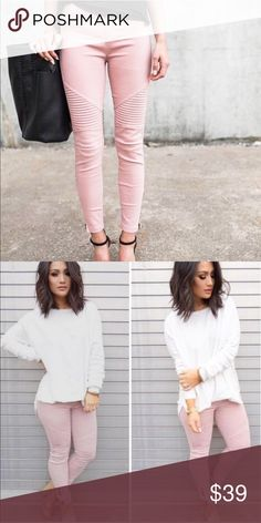 15% OFF 2+▪️ moto jeggings skinny blush pink Super sexy & slimming moto jeggings with zip sides.  ALSO AVAILABLE IN BLACK or WHITE  cotton, nylon, spandex blend for the perfect comfy fit! WILA Pants Skinny