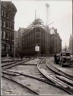 """Ottawa Post Office under construction at the corner of Elgin and Sparks in November of 1938. The streetcar tracks were re-routed on account of the construction of the War Memorial, just out of the picture to the right. The new post office was needed because the old one on the other side of the Plaza had just been been demolished as part of the """"beautification"""" scheme...."""