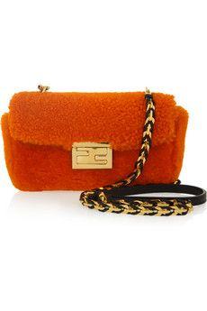 Fendi Be Baguette Mini shearling bag | NET-A-PORTER
