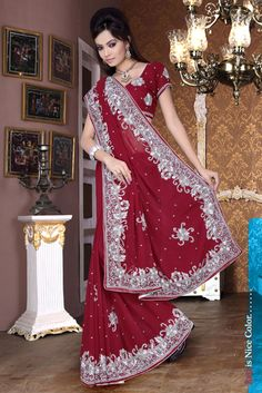Red Faux Georgette Festival Saree 15982 With Unstitched Blouse
