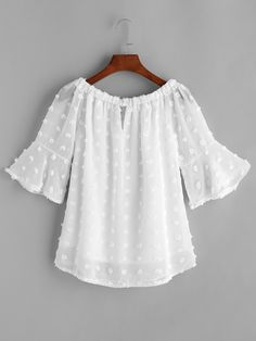 SheIn offers White Boat Neck Dotted Jacquard Chiffon Top & more to fit your fashionable needs. Cute Dresses, Casual Dresses, Casual Outfits, Girl Outfits, Fashion Dresses, Cute Outfits, Blouse Styles, Blouse Designs, Lace Tops