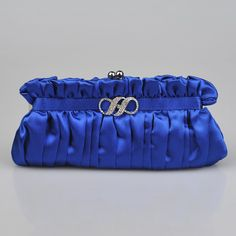 Royal Blue Fully Pleated Satin Bridal Clutch with Rhinestone
