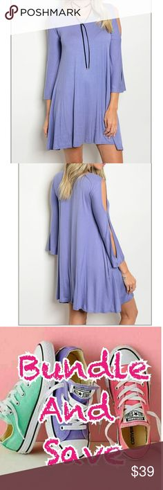 """""""GWEN""""🆕 INDIGO DRESS👗👗 💓💓💓Peek-a-boo 3/4 sleeved  indigo dress , super soft ..  perfect by itsepf with heels or sandals for summer. Or pair it woth some leggings and boots for  fall. Made in USA 💓💓💓💓 ✔96% rayon  ✔4% spandeX ✔BUNDLE AMD SAVE  🚫NO TRADES Dresses"""