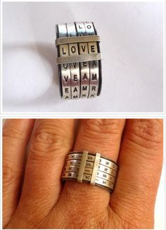 Ring | Natalia Gomensoro. 'Four Letters' Sterling silver (recycle) with oxidized. ... love, amor, kiss, baby, etc, the options are endless.