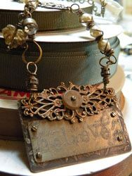 ♥~A unique purse necklace of repurposed & rusty findings~