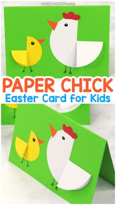 Paper Circle Hen and Chick Craft - Easter Card Idea - Easy Peasy and Fun. - Paper crafts - Paper Circle Hen and Chick Craft – Easter Card Idea – Easy Peasy and Fun… - Paper Plate Crafts For Kids, Easy Easter Crafts, Paper Roll Crafts, Fun Crafts For Kids, Creative Crafts, Easy Crafts, Easter Ideas, Decor Crafts, Wood Crafts