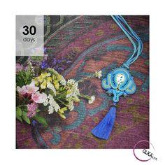 Soutache necklace wit long tassel. Boho style. By Qlka Art.