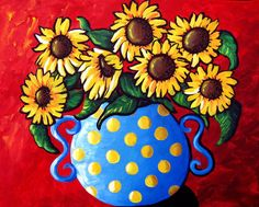 """Sunflowers in Blue Polka Dots"" by Renie Britenbucher, NE Ohio // Colorful floral still life with sunflowers. // Imagekind.com -- Buy stunning, museum-quality fine art prints, framed prints, and canvas prints directly from independent working artists and photographers."