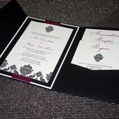 Diamond Damask Wedding Invitation Pocketfold by ThePerfectGiftShop, $6.50
