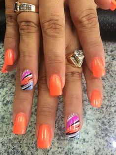 Colorful Nail Designs - 35 Creative DIY Nail Art for Summer this Year Nail Art Designs, Fingernail Designs, Nails Design, Orange Nail Designs, Summer Nail Designs, Colorful Nail Designs, Summer Nails 2018, Spring Nails, Pink Summer Nails