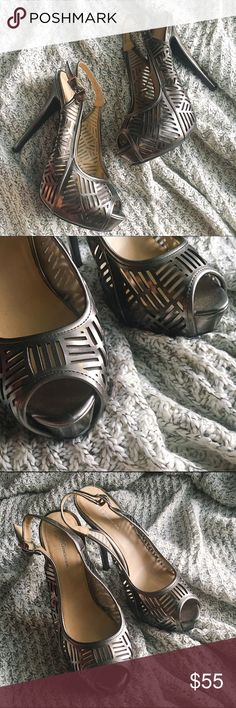 """BCBG Pewter Laser Cut Peep Toe Slingback 💋Size 9 💋Lightly worn. Slight scuffing on heels as shown in pictures. Tons of use left in them. 💋4.5"""" heel/1.5"""" platform BCBGeneration Shoes Heels"""