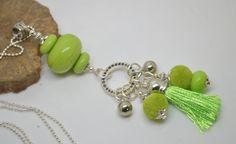sautoir 76 cm perles verre filé au chalumeau vert anis chaine argent 925 : Collier par liloo-creations