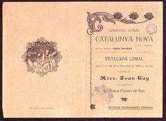 Programa de mà i invitació de la Societat Coral Catalunya Nova. Alexandre de Riquer (1900)