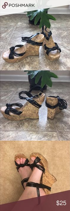 Jessica Simpson Wedges Cute Jessica Simpson Cork Wedges with black leather straps. Measure 5 inches in height. These are super comfortable to walk in as you can see signs of wear reflected in the pictures. Feel free to ask questions make reasonable offers. Jessica Simpson Shoes Wedges