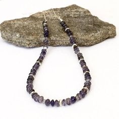 Gemstone Beaded Necklace Iolite Necklace Blue Gemstone