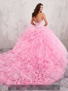 2018 Pink Sweet 16 Ball Gown Organza Traint Quinceanera pageant Evening Dresses  | eBay