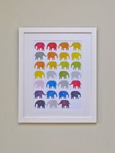 Rainbow Elephants Nursery Print - Bright Unisex Baby Shower Gift. Available in A4, A3, 8 x 11 and 11 x 14 prints on Etsy, $25.40
