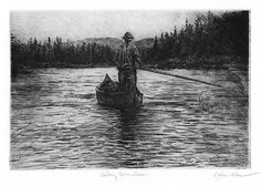 Downstream Sailing, Original Etching, Limited Edition 44/150, 15 1/2 x 12 1/2 inches (framed size) black frame