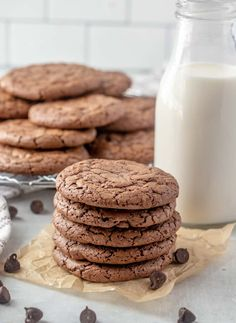 Easy, delicious and soft, these Brownie Cookies are one of the most perfect additions to your dessert menu! Chocolatey, chewy and taste just like a brownie. Delicious Cookie Recipes, Chocolate Cookie Recipes, Best Chocolate Chip Cookie, Mini Chocolate Chips, Best Dessert Recipes, Chocolate Flavors, Brownie Recipes, Chocolate Brownies, Delicious Chocolate