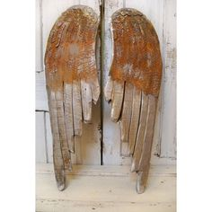 Large wood angel wings wall sculpture metallic silver pewter rusty... ❤ liked on Polyvore