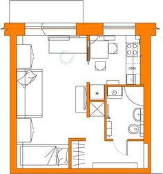 """Проект """"Черничный пирог"""" Снесена часть стены между комнатой и кухней, что позволило создать дополнительные места для хранения.Санузел совмещен."""