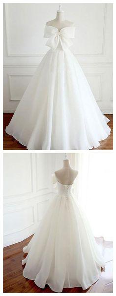CHIC WEDDING DRESS,WHITE PROM DRESS ORGANZA WEDDING DRESS,SIMPLE WEDDING DRESS, BOWKNOT DREESS,SIMPLE PROM DRESS, WEDDING DRESS AM836 #amyprom