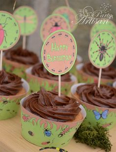 Boy Bug Party Cupcake Toppers - Printable