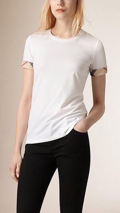 White Check Cuff Stretch Cotton T-Shirt - Burberry $125.00
