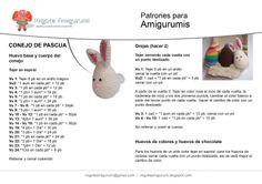Conejo de Pascua Amigurumi  - Patrón Gratis en Español                                                                                                                                                                                 Más