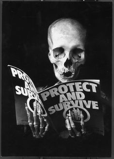 Protect And Survive - Skullspiration.com - skull designs, art, fashion and more skulls, peter kennard, bone, surviv, design art, skeleton, protect