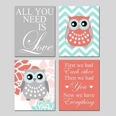 Coral Aqua Owl Nursery Art  All You Need Is LOVE by Tessyla, $65.00