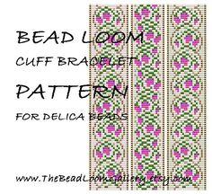 Bead Loom Cuff Bracelet Pattern Vol.35 The April Sweet Pea