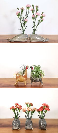Illinois-based artist and potter Yoshiko Kozawa of Studio Giverny crafts clever and cute handmade animal vases.
