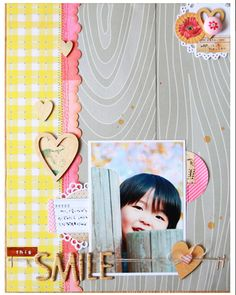 smile, studio calico, embellisment cluster, border, hearts, layered, twine, brads