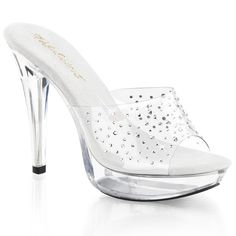 FABULICIOUS COCKTAIL-501RS Clear-Clear Platform Slides