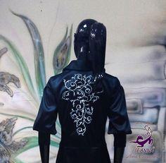 """Купить Роскошное платье-пальто с вышивкой """" из атласа стрейч Armani - черный, платье пальто"""