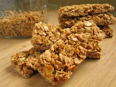 Crunchy-ish granola bars. Definitely a good sub instead of buying Nature Valley. Could put anything in them (dried fruit, nuts, etc). Didn't like peanuts in them. Try leaving out the brown sugar next time.