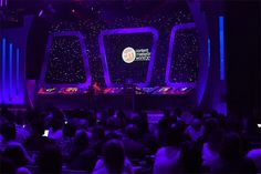 """The spaceship design of the keynote stage tied to the conference theme of """"Content Strikes Back""""—a play on Star..."""