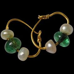 Pair-of-Gold,-Emerald-&-Pearl-Court-Earrings