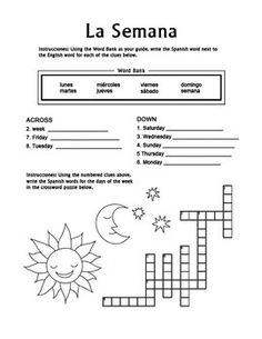 cu ndo is a crossword puzzle worksheet which helps students practice spanish vocabulary for. Black Bedroom Furniture Sets. Home Design Ideas