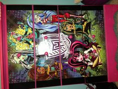 Monster High poster on dresser. Fit poster to size. Spray adhesive poster in place . Then high gloss spray paint.