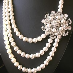 Statement Bridal Necklace, Pearl Necklace, Vintage Necklace, Rhinestone Necklace, Flower Necklace, Wedding Jewelry, BOUQUET. $148.00, via Etsy.