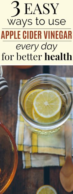 3 Simple Ways to Use Apple Cider Vinegar as a Natural Remedy | These three ways to use apple cider vinegar are THE BEST! I feel huge improvements in my body with apple cider vinegar! Such a great natural remedy for digestive issues! Also includes how to use apple cider vinegar instead of conditioner for shiny hair! Definitely pinning! #naturalremedies #wellness #healthyliving #applecidervinegar
